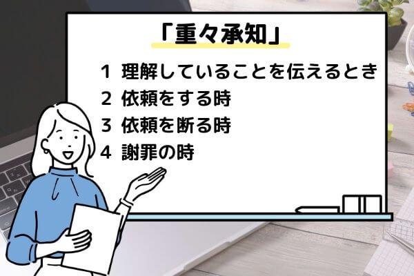 重々承知の使い方4つを説明する画像